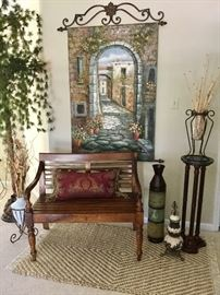 Custom original oil, designer bench, marble top plant stand w/ solid wood/turned legs.