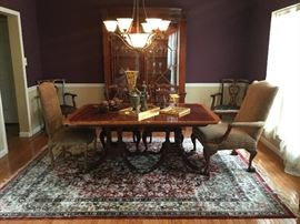 Baker, Mohogany solids and mohagany  veneer, dining table, twin pedestals. Pedestals modeled after c1810 Nathaniel Russell House table. Three leaves.Stunning piece! Excellent condition! Original receipts avail!