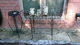 Metal garden basket, concrete pigs, plant stand
