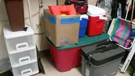 Garage goodies - folding chairs, coolers, life jackets