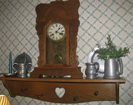 Oak Mantel Clock and pewter