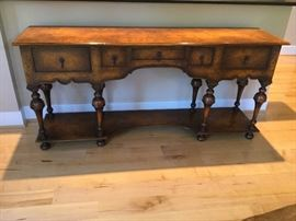 Burl wood steals our heart! STUNNING console table. Perfect condition. 33 H x 70.5 L x 17.25 D