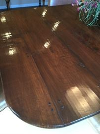 Close up of the barn wood table top.