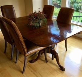 """Gorgeous custom made, barn wood table! Features twin pedestal legs and two 24"""" leaves. Closed measures 72 L x 44.5 W x 30 H"""