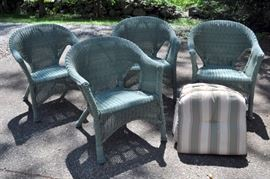 4 faux wicker chairs and cushions.