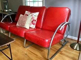 1930's Art Deco Tubular Chrome Sofa w/ Vinyl coverings. GREAT condition! Hard to find!