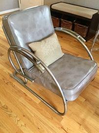 1930's Art Deco Tubular Chrome Club Chair. GREAT vintage condition!