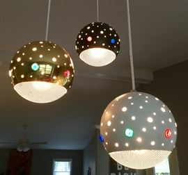 Vintage, three-pendant drop chandelier. You can change the colors of the beads/jewels. AWESOME PIECE!