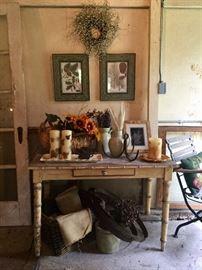 Vintage wine barrel steel wraps, antique pottery, burlap, wall art