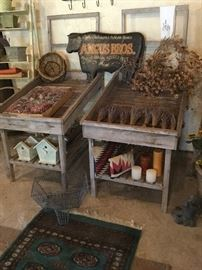 Antique produce stands, dried lavender, floral arranging materials