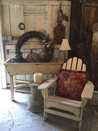 Enamelware pot, concrete yard stands, Adirondacks, wreaths, décor!