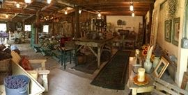Inside the main barn! Antiques, décor, lavender, seating, catering items, candelabras, country Christmas, MORE!