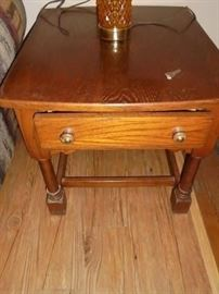 1 of 2 Broyhill oak end tables