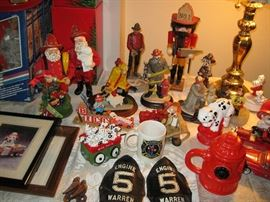 Emmett Kelly, Michael Garman and Clothtique Santa Fireman Collectibles and Patches, Jim Beam Fire Truck Decanters
