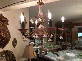 vintage chandelier made in Spain  with  caprodemonte hand made roses and centerpieces
