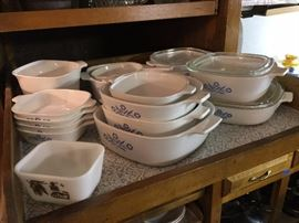 rows of vintage Corning Ware