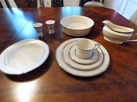 Lennox Ivory Frost service for 12 plus serving pieces and soup bowls