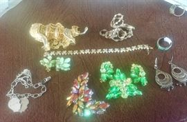 Vintage costume , sterling, and gold jewelry