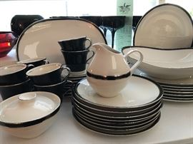 """Vintage  American Manor """"Ebony"""" china and lead crystal including a 36 piece china set, glasses and vases / candle holders"""