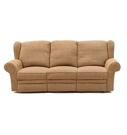 Reclining Sofa: A tight upholstered sofa, covered in a tan textured fabric and having rolled arms with three seats functioning as recliners with foot rests. Manufacturer unknown.