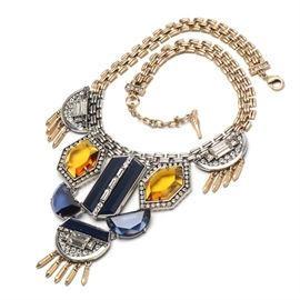 "Chloe & Isabel ""Grand Cabaret"" Statement Necklace: A Chloe & Isabel Grand Cabaret statement necklace. This bold costume necklace features bezel set navy and topaz amber resin stones, with faceted and beveled clear glass accents in a silver-tone setting with gold-tone fringe and a lobster claw clasp. The necklace is marked ""Chloe & Isabel"" to a bird charm at clasp, coming housed in the original Chloe & Isabel presentation box."