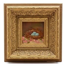 "Sue Helbling Original 2009 Oil on Canvas ""Apple Blossom Time"": An original 2009 contemporary oil painting on canvas signed to the lower right by artist Sue Helbling, titled Apple Blossom Time. The image depicts a robin's nest filled with three blue eggs, surrounded by pink apple blossoms. This work is mounted in a wood frame with opulent cast veneer and a gilt finish, equipped to hang."
