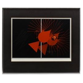 Charley Harper Signed Limited Edition Serigraph: A signed limited edition serigraph on wove paper by well listed and beloved Cincinnati artist and wildlife conservationist Charley Harper (1922 – 2007), titled Seeing Red. The print depicts a cardinal becoming flustered and angry as it aggressively confronts its own reflection in a glass pane. The print is signed and numbered 1294/2500 in pencil to the lower corners. It is matted in black and presented behind glass in a silver tone metal frame with a hanging wire attached to the verso.