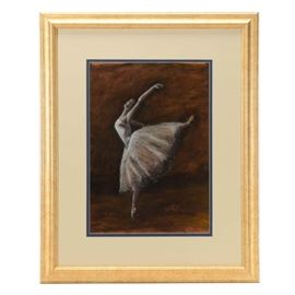 Toni Roark Original Pastel Drawing of Ballerina: An original contemporary pastel drawing on paper signed to the lower right by artist Toni Roark. The image depicts a female ballet dancer on pointed toe, extending her back leg high into the air. This drawing is mounted behind blue and white double mat, under glass in a beveled wood frame with a speckled warm silver finish, equipped to hang.