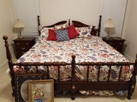 King size Cherry Poster Bed. 2 Night Stands, Door Chest