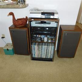 , pair of vintage Cerwin Vega speaker model D-3, vintage Akai turntable AP-D3, vintage Sansui cabinet, Teak cassette deck W-450-R