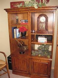 Ethan Allen Clock. Bookcases.