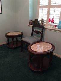 pair Mersman marble top tables
