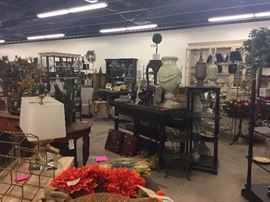 Display shelves, lamps, lighting, wreaths, wall art, vases, urns, dishes, candles