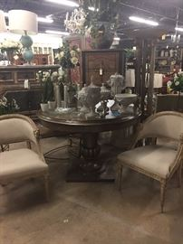 chairs, tables, home decor, plants, lamps