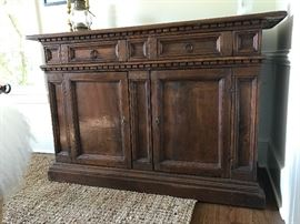 18th c. Italian credenza/sideboard.  Beautiful, patinaed Walnut, all circa 1730.  Original handcrafted locking mechanism.  A very, very rare find.  See similar example here: https://www.1stdibs.com/furniture/storage-case-pieces/credenzas/italian-tuscan-17th-century-walnut-credenza-baroque-credenza/id-f_752562/