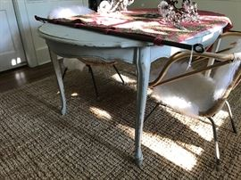 A beautiful French-style dining table from Ashley Gilbreath's shop on Graham Street.  A very unusual 19th c. Italian tapestry with iron rod.  A wonderful pair of mid-19th c. French sconces from the estate of Will Hill Tankersley, Sr.  Below, an 8x10 jute rug.