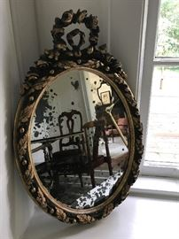 Beautiful petite mirror from France, mid- to late-1800s.  This came from the stock of the former Graham Street Antiques.