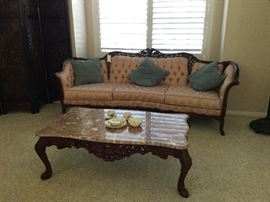 Victorian style couch with coffee table and marble top ! Excellent condition
