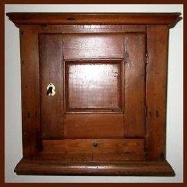 Fabulous Hanging Antique Small Cabinet with 2 Drawers & Key. According to Family Records and Receipts, this is a Pennsylvania Piece c.1770