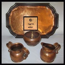 Impressive Hector Aguilar Copper Tray, Bowl, Creamer and Sugar all pcs are marked