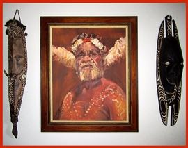 Fabulous Signed Oil Painting of a Great Chief and 2 Very Decorative African Masks. This Fabulous Painting was done by famous Australian (Dutch Born) Artist Carl Van Nieuwmans, born 1931. More info on the close up photo towards the end of the photos. This Beautiful Painting is flanked by 2 Gable Masks, possibly from the Sepik River Region in New Guinea