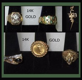 """Gorgeous 14K Gold Rings and 14K Gold """"Taking Care of Business"""" in a Flash Pendant, Elvis Presley's Mantra and Point of Pride"""