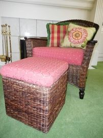 WICKER CHAIR & OTTOMAN