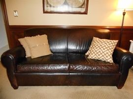 BROWN LEATHER SOFA FROM POTTERY BARN