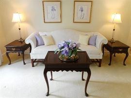 MORE HARDEN TABLES & WHITE SOFA