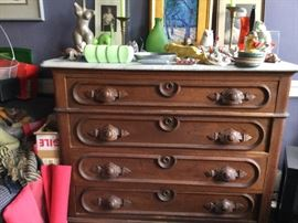 Antique marble-top chest