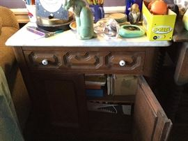 Antique marble-top cupboard
