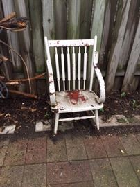 Old Wooden Rocker Needs some Tender Care, but Could be Really Nice.