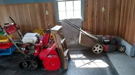 snow blower and push lawn mower with bagger.