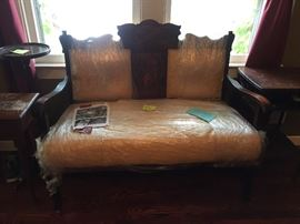 Ornate settee  completely remodeled and reupholstered